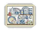 Kits de punto de cruz  Kit de punto de cruz de porcelana 14ct 11ct Count Impreso Lienzo Puntadas Bordado DIY Costura hecha a mano-14ct Unprint Canvas-Cotton Thread