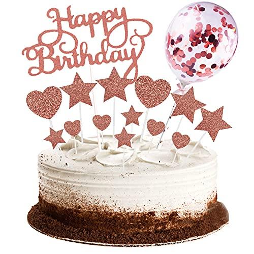 15PCS Happy Birthday Cake Toppers, Joyeux Déco Gâteau Anniversaire pour Décoration de Fête d'anniversaire Enfants Filles Garçons, avec Glitter Mini Ballon, Étoiles, Coeurs Cupcake Topper(Or Rose)