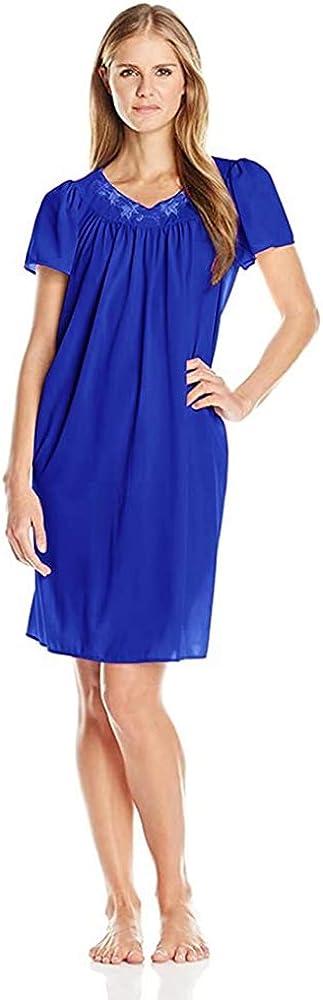 Miss Elaine Women's Plus Size Tricot Short Nightgown (3X, Sapphi