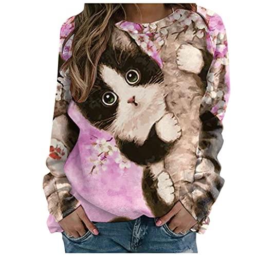 Sweatshirts für Jugendliche, karierte Hemden, Lederjacke, Damen, langärmlig, bedruckt, Pullover mit Rundhalsausschnitt., (#01) Pink, XX-Large