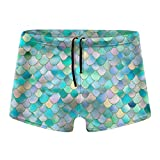XCNGG Costume da Bagno Uomo Shorts Trunks Teal Metal Mermaid Scales Men Swim Brief Soft Swimming Trunks Underwear with Soft Lining