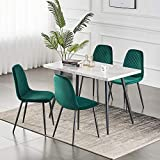 Greneric 2er Set Esszimmerstühle Wohnzimmerstuhl Sessel mit Rückenlehne Sessel Stuhl Scandinavian Vintage Künstlich Wildledersitz mit Stahlbeinen in Schwarz (Samt grün, 2)