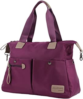 Handbag Carry, Foldable Duffle Bag, Women Travel Luggage Bag, Sports Gym Bag, Adjustable Shoulder Strap, Overnight Camping (Color : Purple)