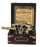 MAH Brass Ship History Sextant with Hardwood Box.C-3082