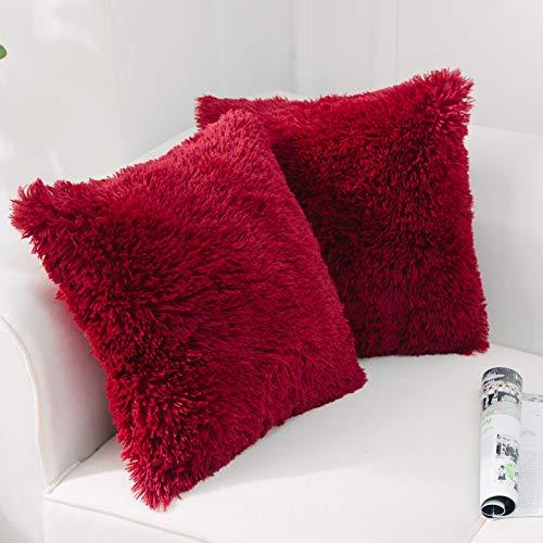 NordECO HOME Paquete de 2 Funda de Almohada de Piel sintética Fundas de Cojines Suaves Funda de Almohada Decorativa de Felpa para Sala de Estar Sofá Dormitorio Coche 45 x 45 cm Vino Rojo