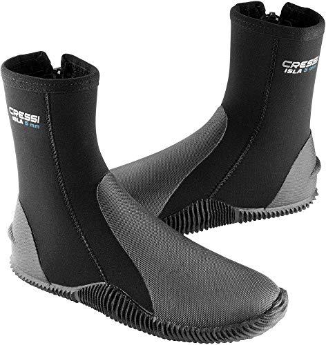 Cressi Isla Boots - Premium Neopren Füßling Für Geräteflosse - Sohle Anti-rutsch, Schwarz/Logo Blau, L - 42/43