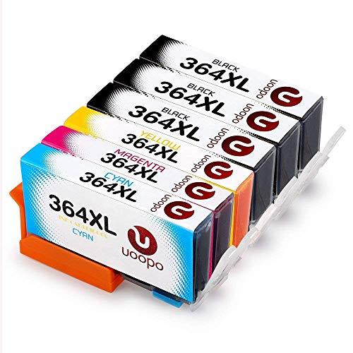 Uoopo 364 Compatibile Cartucce HP 364XL per HP photosmart 5520 5510 6520 7520 7510 6510,Premium C309g B010 B109a B110,HP Deskjet 3520 3070A ,HP Officejet 4620 4622 (3 Nero,1 Ciano,1 Magenta,1 Giallo)