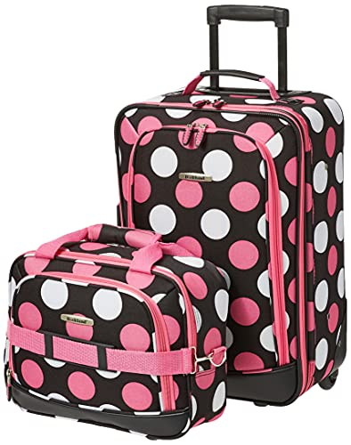 Rockland Fashion Softside Upright Luggage Set, Multi/Pink Dot, 2-Piece (14/19)