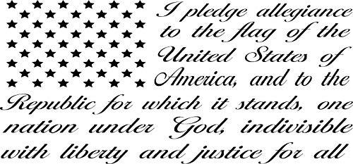 "American Flag Pledge of Allegiance Vinyl Decal Sticker Car Truck Window (15"" х 30"", Silver)"
