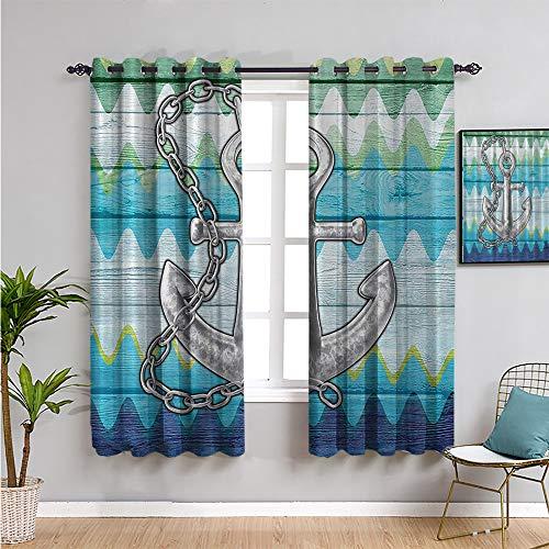 SONGDAYONE Cortina aislada con ancla de chevron, cortinas de 114 cm de largo para sala de estar o dormitorio de 63 cm de ancho x 45 pulgadas de largo, verde gris marino
