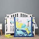 Dinosaur Park Crib Bedding Set for Boy Girl Nursery Baby Bedding 9 Piece with Storage Bag,Blue Yellow - Standard Size