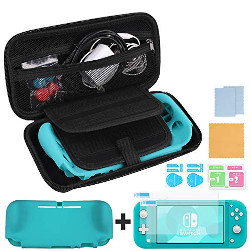 Zacro Carrying Case kits for Nintendo Switch Lite, can Store 20 Game Cassettes, include 1 Silicone Grip Protector, 2 HD screen protectors, 1 Type-C Charging Cable and 2 pairs Handle Caps