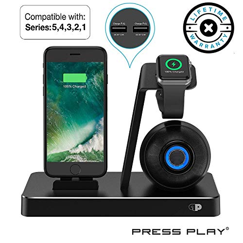 ONE Dock (Apple Certified) Power Station Dock, Stand & Built-in Lightning Connector for Apple Watch Smart Watch (Series 5,4,3,2,1 Nike+), iPhone, iPad & iPod (Dock + Beat Speaker (Black))