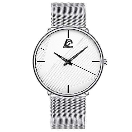 AMZSELLER Reloj Relojes de Moda Hombres clásico Negro Ultra Delgado de Acero Inoxidable cinturón de Malla Reloj de Pulsera de Cuarzo (Color : M Silver White)