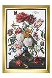 Thea Gouverneur - Kit Broderie Point de Croix (Points comptés) - 785A - Fils DMC Pré-trié - Nature morte avec des fleurs dans un vase en verre - Aida - 72cm x 49cm - Kit de Bricolage
