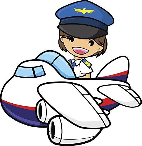 Divine Designs Happy Kawaii Anime Pilot Flight Attendant Cartoon Vinyl Decal Sticker (4' Wide)