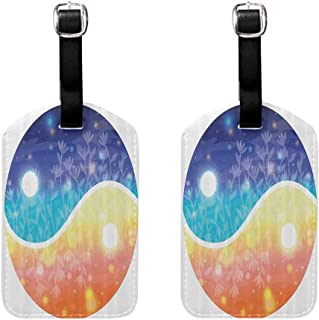 2 PCS Luggage tag Apartment Decor Yin Yang Symbol with Lights Beams Harmony of the Universe Gradient Tone Theme Double-sided printing Multi