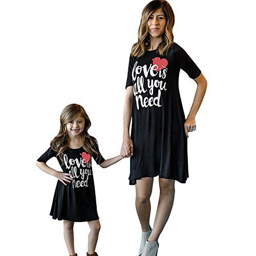 Mutter Und Tochter Kleid Allence, Familie Shirtkleid Strandkleid Summer Dress Freizeitkleid Mädchen Kleider Damen Baby Outfit Mädchen Matching Familien Love Drucken Kleidung