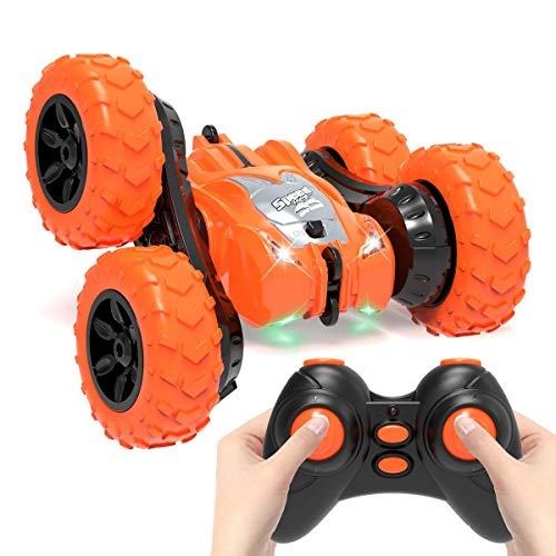AFUNX Remote Control Car,RC Stunt Double Sided 360° Rolling Rotating Rotation Cars, High Speed Off Road Racing Truck for 3 4 5 6 7 8-12 Year Old Boy Kids Toy (Orange)