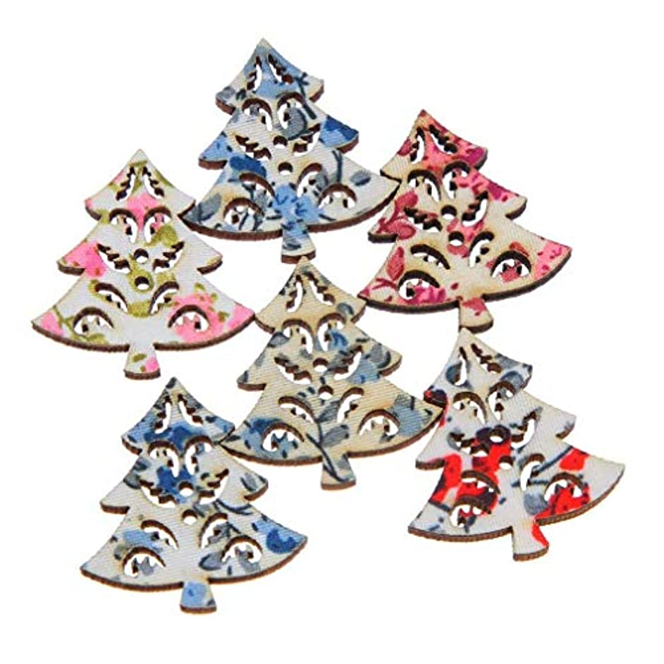 XGuangage Mixed Christmas Tree Shape 2 Holes Wooden Buttons Flower Printed Pack of 100pcs