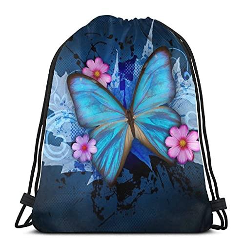 Lmtt Bolsas con cordón Mochila de mariposa azul Bolsas de tirar de cuerda Almacenamiento deportivo a granel Gimnasio para niñas Mochila de viaje resistente al agua como imagen