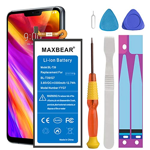 Battery for LG G7, MAXBEAR 3300mAh Replacement Li-ion Battery for LG G7 Thin Q/BL-T39 LMG710VM Verizon with Repair Tool Kit [12 Month Service]