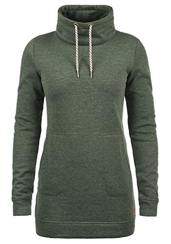 DESIRES Vilma Damen Langes Sweatshirt Pullover Longpullover Mit Stehkragen, Größe:M, Farbe:Climb Ivy (8785)