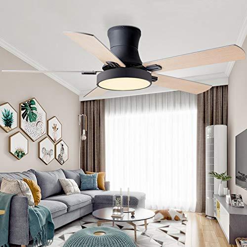 L-WSWS Luz del ventilador de techo 52 pulgadas Moderno Techo Ventilador de ventilador con luces Control remoto Ventilador Lámpara Dormitorio Decoración Aire Enfriamiento Cinco Hoja (Blade Color : 4)