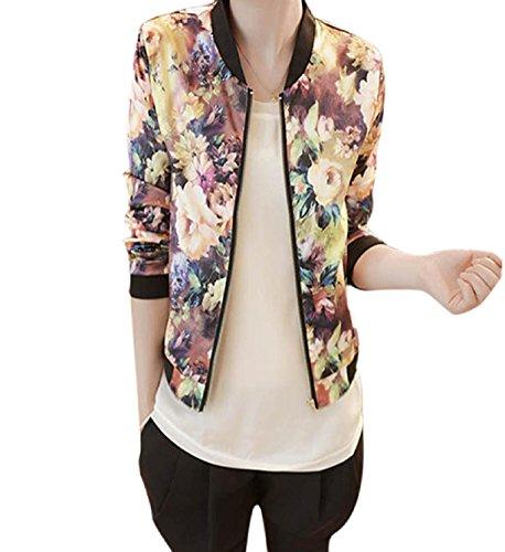 Rosennie Damen Casual Jacke Blumenmuster Frühling Jacke Reißverschluss Stehkragen Outwear Langarm Bomberjacke Kurz Coat Herbst Winter Kurz Leichte Jacke