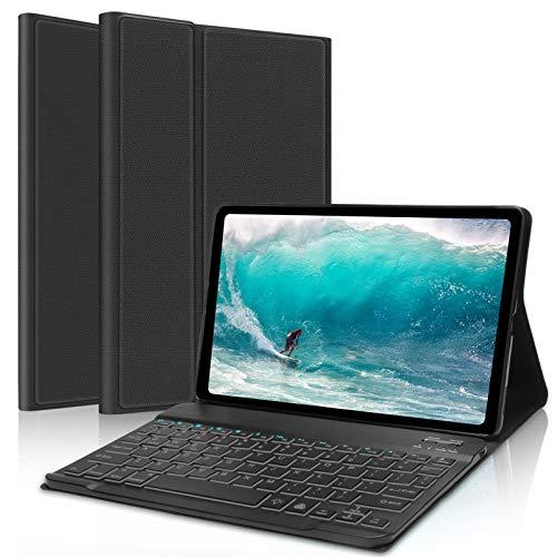 DINGRICH Teclado Trackpad Español Ñ para iPad 10.2/iPad 8 Generacion 2020, Funda con Teclado Touchpad Bluetooth Extraíble Recargable 7 Color Retroiluminada para iPad 8/7 Gen/Pro 10.5/Air 3 Negro