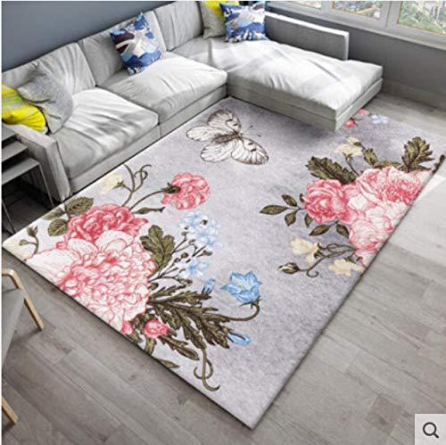 juan Teppich Mode Blumen Und Bäder Bad Rutschfester Teppich Schlafzimmer Nachtdecke Nordic Teppich Wohnzimmer Couchtisch Pad Moderne Dekoration 160 cm * 230 cm