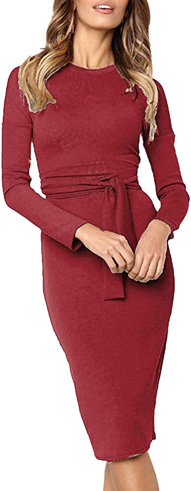 TIMEMEANS Clearance Dress Womens Sexy Long Sleeve O-Neck Bow Bandage Bodycon Long Dress