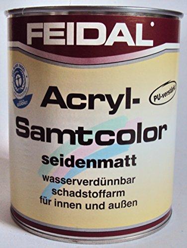 Feidal Acryl Samtcolor / farblos / seidenmatt / 250 ml / Klarlack auf Wasserbasis / PU-verstärkt / für höchste Ansprüche / für Holz, Stahl, Alu, Zink, Hart-PVC, Tapeten, Beton, Mauerwerk