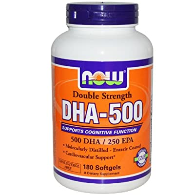 Direct to Peeps Now Foods DHA-500 Double Strength Omega 3 Fish Oil 180 Softgels, DHA & EPA