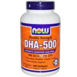Now Foods DHA-500 Double Strength Omega 3 Fish Oil 180 Softgels, DHA & EPA