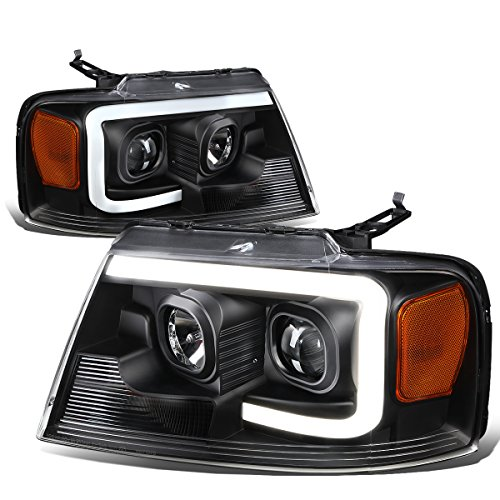 3D LED DRL Black Housing Amber Corner Projector Headlight Lamps Replacement for Ford F-150 / Lincoln Mark LT 04-08