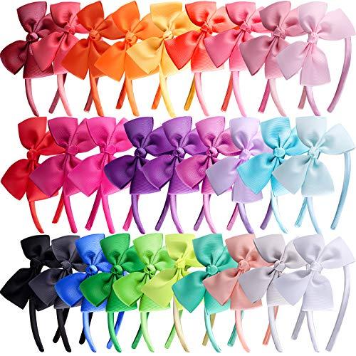 SIQUK 28 Stück Haarreifen mit Schleife Haarreif Schleife Stirnband für Mädchen, 28 Farben