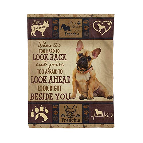 Frenchie Bulldog Pug Animal Cute Life is Dog Paw Print Pet Heart Blanket Throw Soft Cozy Light Flannel Blanket for Quilt All Seasons Living Room Bed Sofa Blanket Tapestry Deco Gifts Merch 50'x40' in