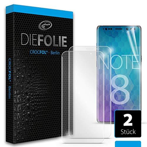 Crocfol Schutzfolie vom Testsieger [2 St.] kompatibel mit Samsung Galaxy Note 8 - selbstheilende Premium 5D Langzeit-Panzerfolie -inkl. Veredelung - für vorne, ganzes Display
