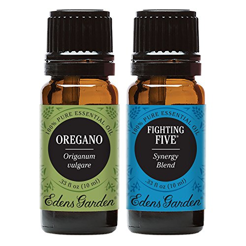 Edens Garden Fighting Five + Oregano Essential Oil Set, Best 100% Pure Aromatherapy Starter Kit (For Diffuser & Therapeutic Use), 10 ml