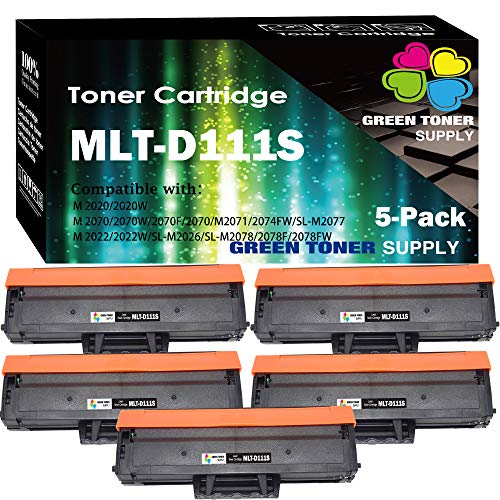 (5-Pack) Compatible MLT-D111S D111S Toner Cartridge 111S Used for Samsung Xpress M2020 M2020W M2022 M2022W M2024 M2026 M2070 M2070W M2078 Printer, by GTS
