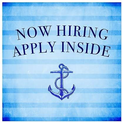 Now Hiring Apply Inside 12x12 5-Pack CGSignLab Nautical Stripes Window Cling