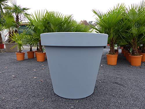 E&K Übertopf Ø 80 cm Pflanztopf Blumentopf Pflanzkübel 'Ecken und Kanten' Kübel - Farben: anthrazit, weiss, grau XXL groß, Farbe:grau
