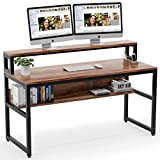 Tribesigns Computer Desk with Shelves, 55 Inches Office Writing Desk with Monitor Stand Shelf, Study...