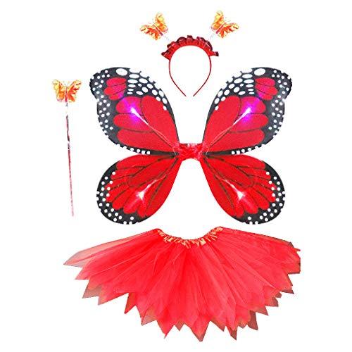 PHILSP Niños Adultos 4 Piezas Juego de Disfraces de Hadas Simulación LED Alas de Mariposa Falda de tutú Puntiaguda Diadema Varita Princesa Niñas Fiesta Vestido Rojo
