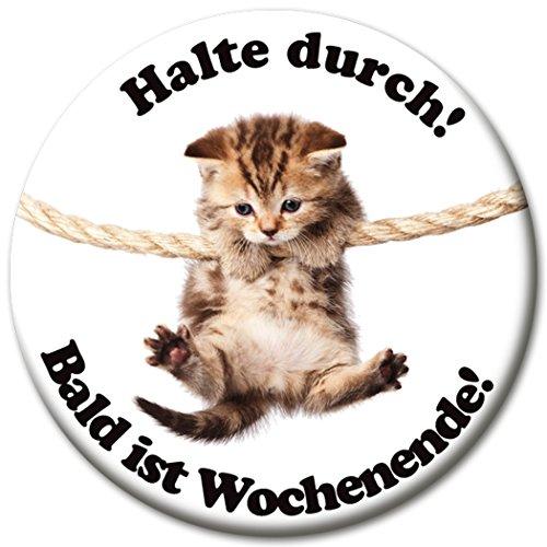 """Kühlschrankmagnet Katze mit lustigem Spruch """"Halte Durch!"""", Magnete für Magnettafel, Bunt, stark groß rund 50mm"""