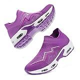 Fenlern Zapatillas de Seguridad Mujer,Ligeras S1 Zapatos de Seguridad Trabajo Punta de Acero Calzado de Seguridad con Colchón de Aire (Lavanda,40 EU)