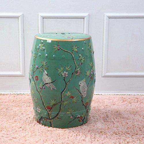 Shoe stool LUYIASI- Handbemalte Blumen und Vögel Chinesische Hocker Keramik Drum Hocker Dressing-Bänke Runde Hügel Hocker (32x45cm) (Farbe : Grün)