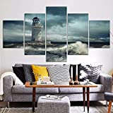 shinering tela wall art 5 pannelli hd stampa faro poster pittura paesaggio di mare immagini a parete per soggiorno decorazione della casano frame, 40cm × 100cm × 1pcs