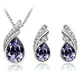 Yan n San Gifts Purple Tear Drop Crystal Pendant Necklace and Earring Fashion Jewelry